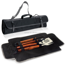 Three pieces BBQ TOOLS TOTE with wooden handle outdoor bbq grill