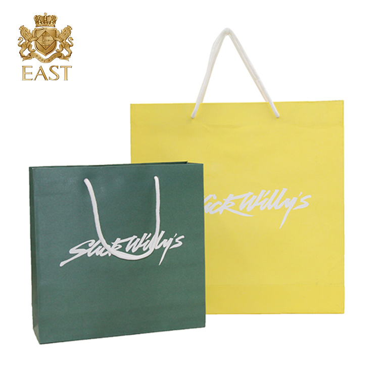 Eastbox wholesale Print Logo Cosmetic Gift Shopping Packaging Paper Bag for multicolor handle paper bag