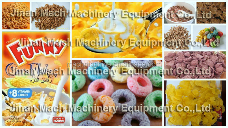 China Made Kelloggs corn flakes cereals making machines