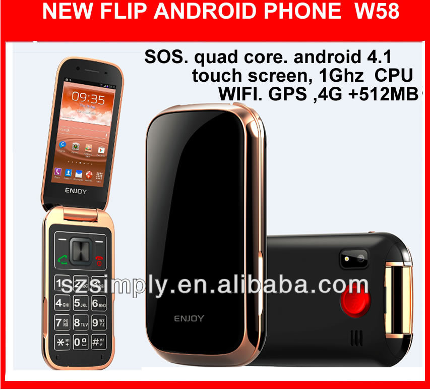 "3G 3.2""flip touch city call mobile phone W58 android 4.1"
