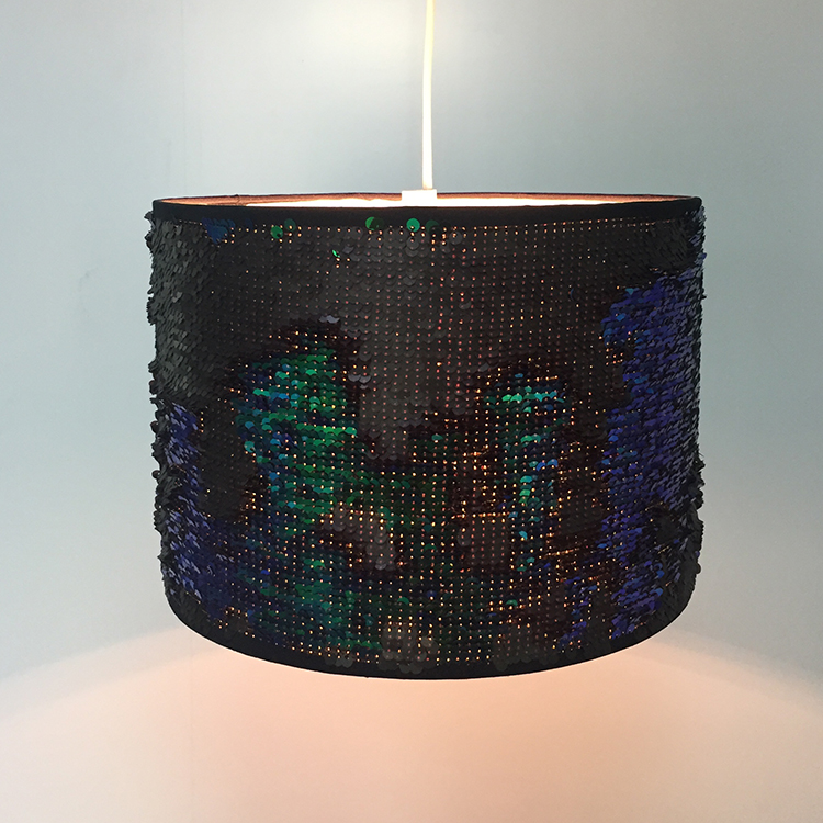 Fashion Style Magic Two Colors Changes Sequin Drum Lampshade