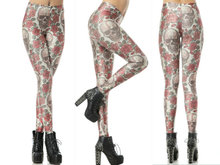3D Skull Leggings Polyester Spandex Top Quanlity Sexy Hot Sale Women Milk Silk Printed Leggings