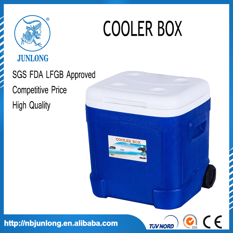 Large plastic standing mobile portable 55L ice coolers box on wheels