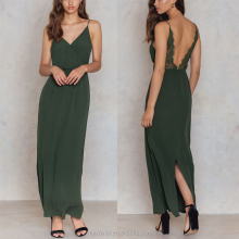 Vicose deep v-neck sexy women maxi dress with overlap front detail and a split back