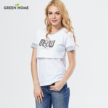 Factory wholesale maternity nursing clothes tops cotton breastfeeding clothes letter printing pregnant clothing hot selling