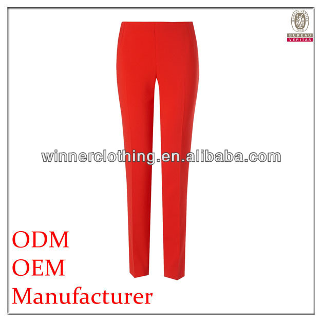 Elegant fitted red cotton and polyester design narrow bottom latest fashion women s pants