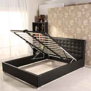Bedroom steel Furniture Ottoman Storage Double Italian Pu Faux Leather Bed Design With Crystals high quality steel furniture