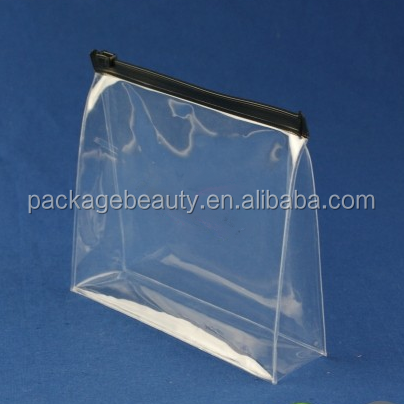 Clear frosted transparent matte plastic PVC apparel bag with zipper top