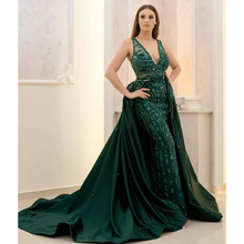 Latest Green Sleeveless Mermaid Evening Dresses 2018 Women Gowns with Removable Skirt Pageant Dresses V Neck Beaded Prom Dress