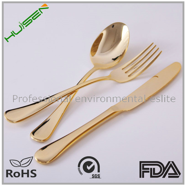 Wholeasale gloden coated plastic cutlery set of biodegradable fork knife and spoon