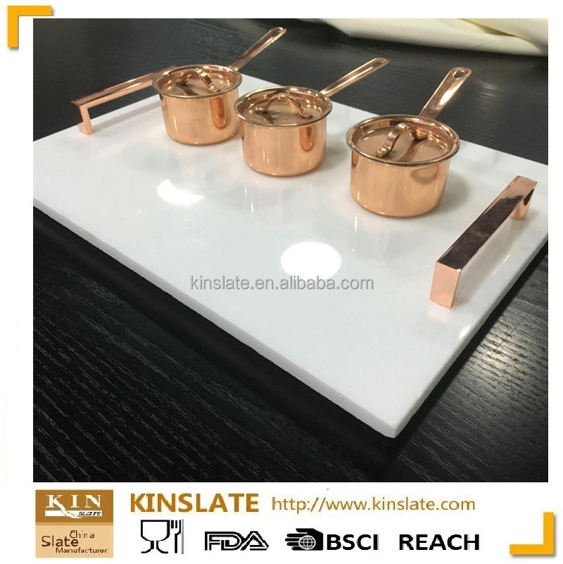 2017 kinslate marble tray for wedding food serving with gold metal handle