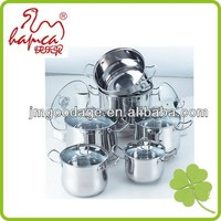 Belly Shape Induction Stainless Steel Cookware 12pcs Set stock Pot Casserole