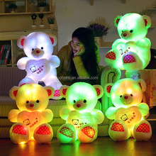 Wholesale Four Colors Teddy Bear Shaped Stuffed Plush Shining LED Light Up Lighting electronic Soft Toys