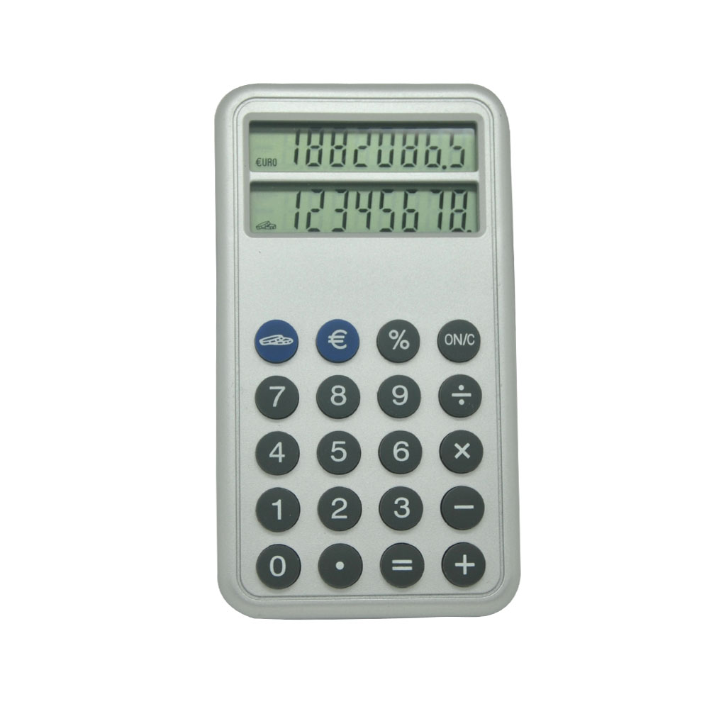 Multi Function Handheld Euro Currency Double Screen Calculator with Button Battery