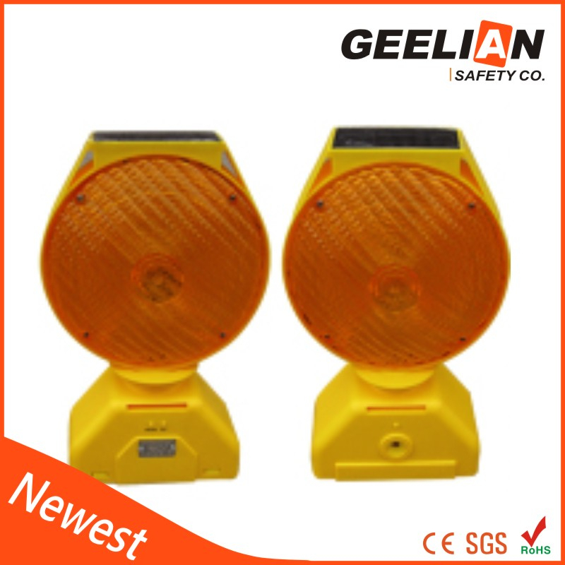 Road Traffic Safety Solar Led Flashing Warning Light with Battery