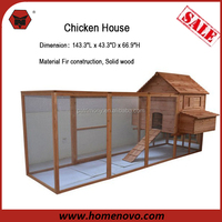 "2015 Promotion High Quality 143.3""L x 43.3""D x 66.9""H Large Run Area Solid Wood Hen House Chinese Cheap Chicken Coop"