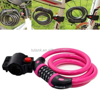 2015 Pink Cycling Steel Wire Security Lock with Bracket