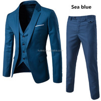 2018 new design stock custom office uniform wedding sea blue coat pant men suit slim fit