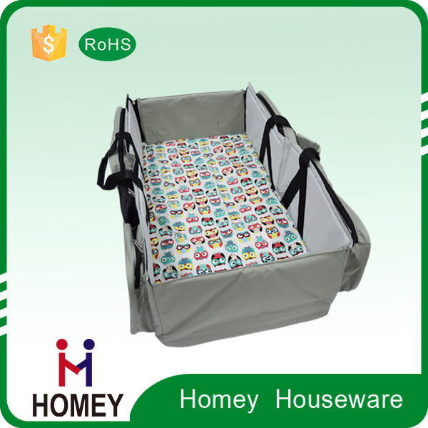 Homey Christmas Gift Promotion Stock Wholesale Big Foldable Baby Travel Bed Baby Cot Diaper Bag