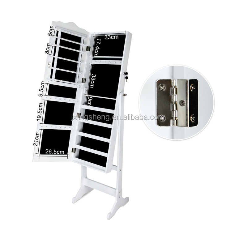 White Mirror Jewelry Cabinet Armoire With Stand display storage Rings, Necklaces, Bracelets