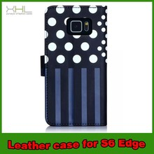 Lovely Wallet Leather Stand Polka Case For Sasmsung Galaxy S6 Edge