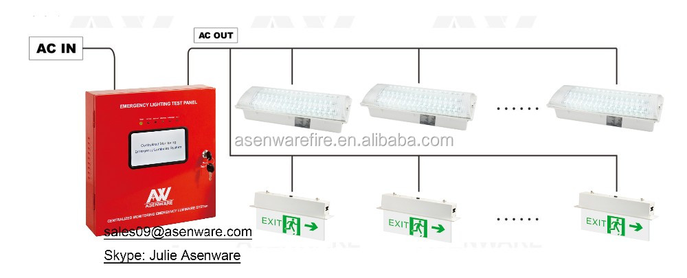 Centralized monitoring emergency luminaire system with battery test function