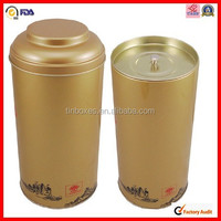 glossy golden varnishing cylindrical tin tube with inner lid