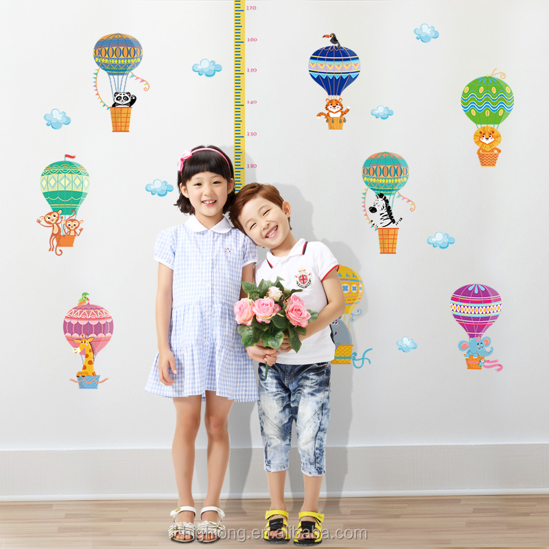 Colorful balloon kids wall growth chart anti radar sticker islamic wall art stickers