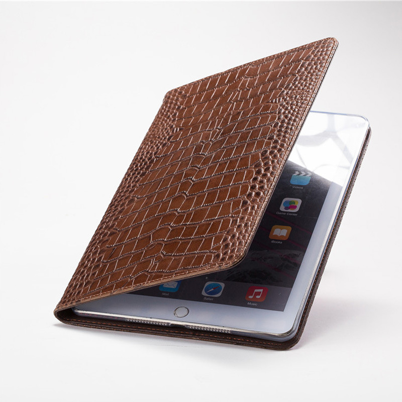 Stand tablet Crocodile pattern business card slots smart leather PU cover for ipad air/mini /pro10.5