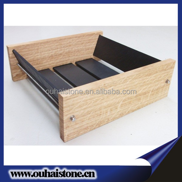 Unique design natural stone fruits tray eco-friendly material black slate plate base