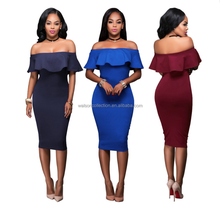 2017 Walson Fashion Womens Off Shoulder Hot Ladies Elegant wome nlady boat neck ruffle pink navy fishtail long slim party dress