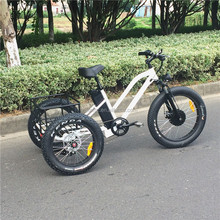 New design powerful fat tire electric trike/tricycle with rear basket(RSEB-706)