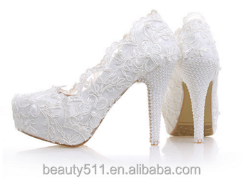 Latest new model design girls' wedding shoes flower platform shoes women pumps high heel WS006