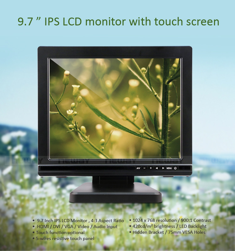 1024X768 High Resolution Touch Screen Ips 9 Inches TFT LCD Color CCTV Monitor