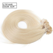 U #613 color blonde 10A Wholesale factory price 100% unprocessed remy virgin European human U tip hair extension