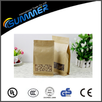 stand up natural brown kraft paper bag with clear window and zipper for food /snacks