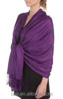 Lady Favorite Solid Color Purple Pashmina With Tassles