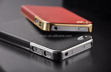 2014 new products Wholesale flat metal leather case for iphone5/5s
