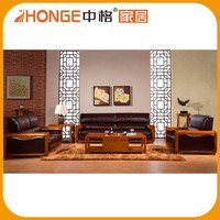 Leather Cushion Sectional Carved Corner Modern Wooden Sofa Set Designs
