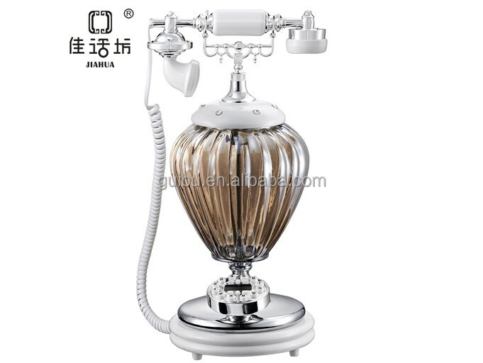 very novel lamp shape glass corded telephone for bedroom and modern living room