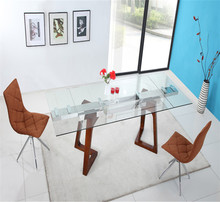 Modern wood dining table,Tempered glass extention dining table and chair
