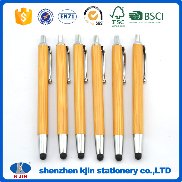 customized bamboo ball pen with screen touch