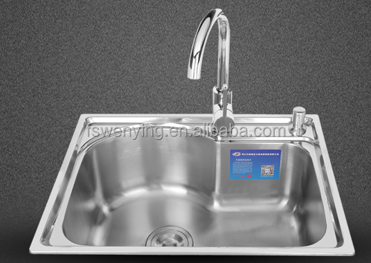 WY-5843 single deep bowl series stainless steel kitchen sink with 20 gauge thickness hot sale in Cambodia