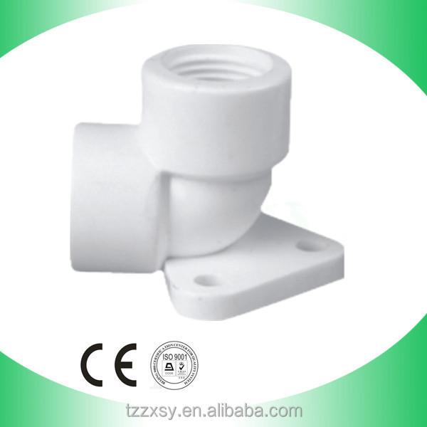 pvc male female threaded elbow with plate