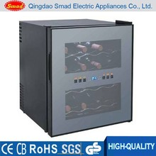 Electric cooling single glass door bottle wine display cooler