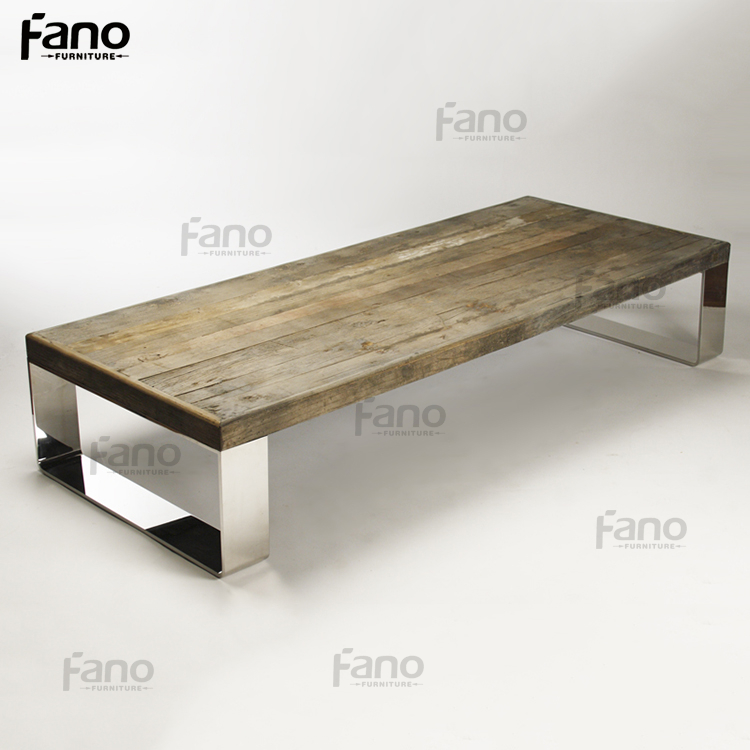 vintage stainless steel base solid oak dining table