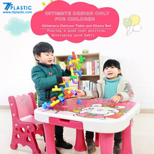 Cartoon kids writing table and chair set plastic preschool children study table