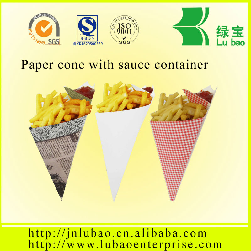 snack food for paper cone or bags with sauce container and holder