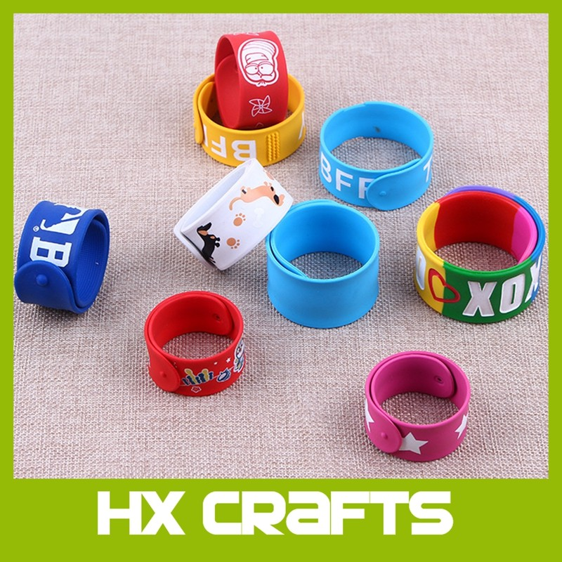 Cheap custom mold free OEM availalbe Promotional Silicone Slap Bracelet/Slap band/Slap on bracelet