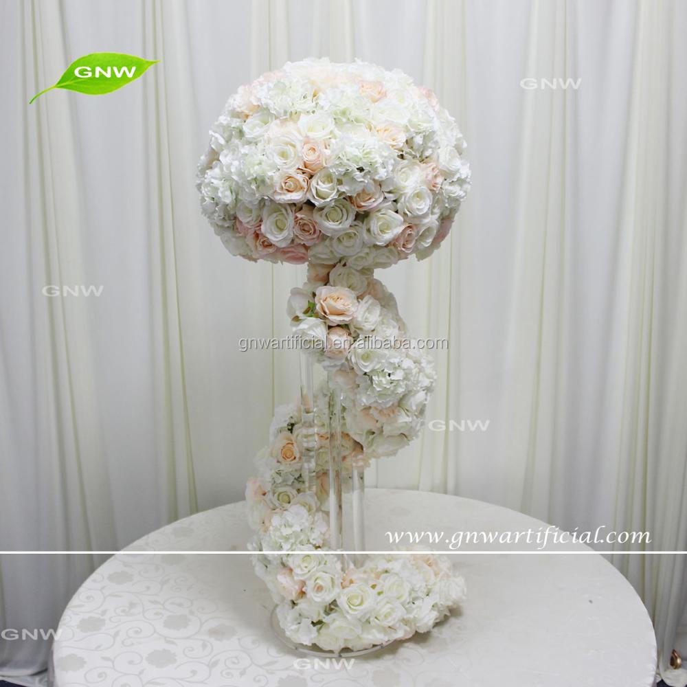 GNW CTR1707020 colorful rose and hydrangea tall wedding candelabra centerpiece